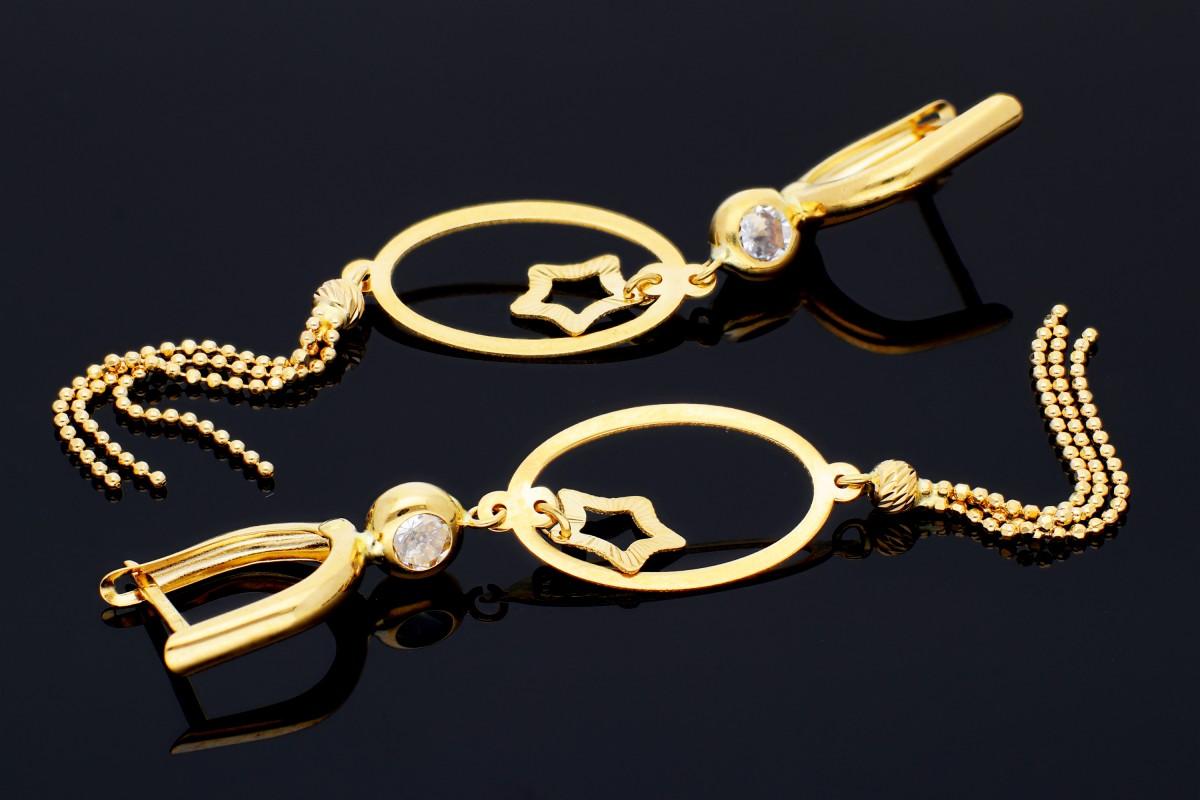 Cercei cu lant dama din aur 14K galben steluta