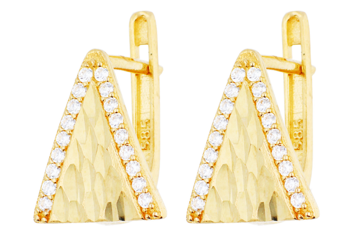 Cercei tortite dama din aur 14K galben geometry