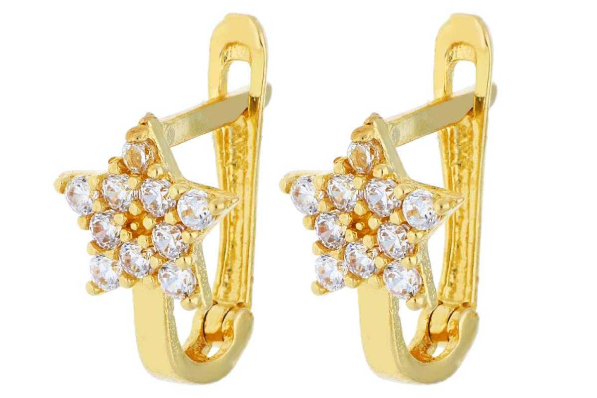 Bijuterii aur online - Cercei copii aur 14K galben stelute
