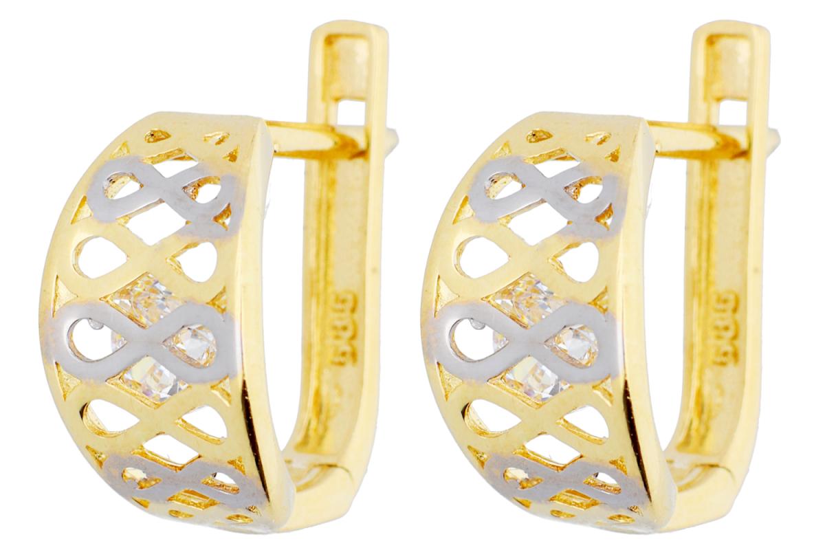 Bijuterii aur - Cercei tortite dama din aur 14K alb si galben