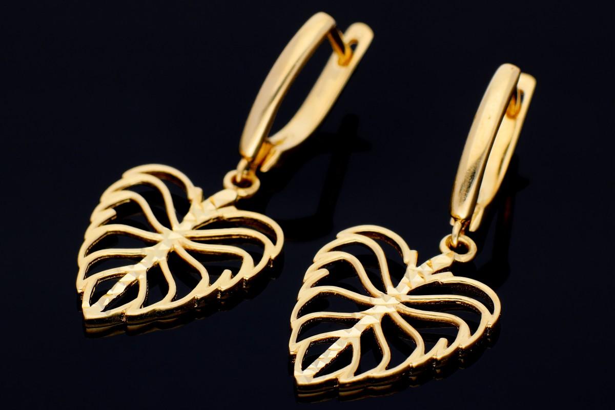 Cercei aur 14K frunzulite