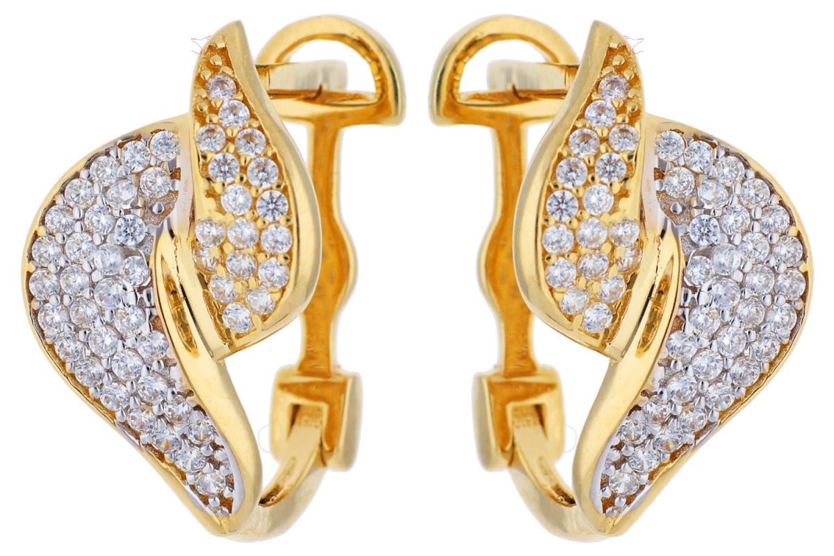 Cercei aur 14K galben si alb bijuterii aur