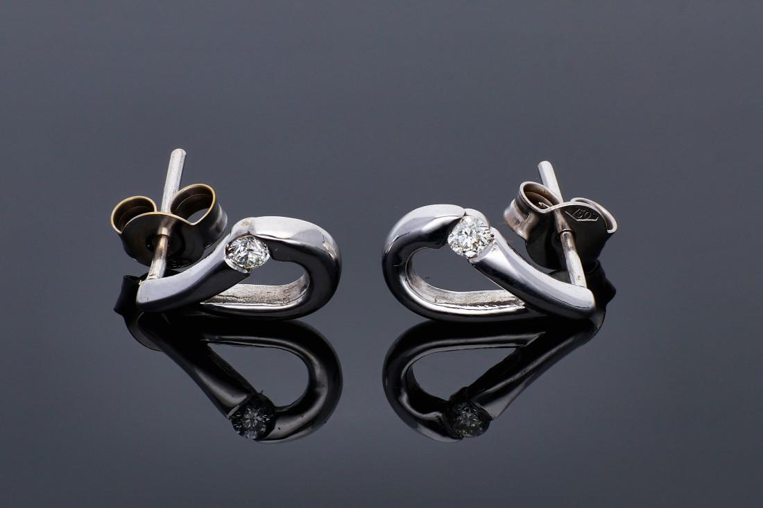 Bijuterii aur online -Cercei  dama din aur 18K alb diamante