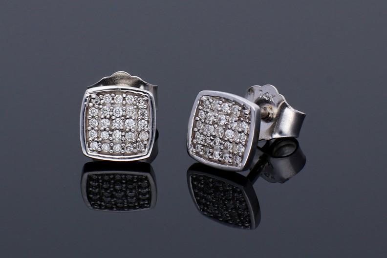 Cercei dama aur 14K alb cu diamante