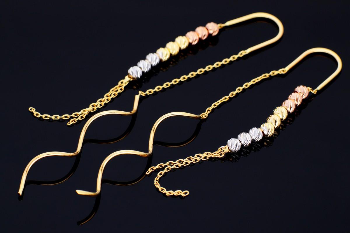 Cercei aur bijuterii dama cu lant si bilute