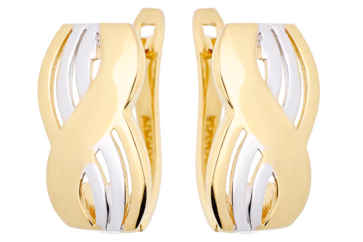 Bijuterii aur online - Cercei tortite dama aur 14K alb si galben infinit