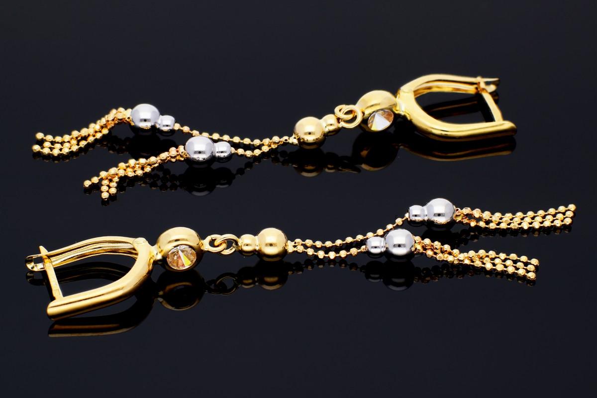 Bijuterii aur online - Cercei cu lant aur 14K alb si galben bilute