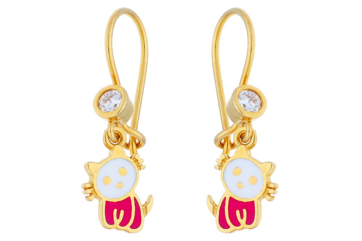 Cercei copii aur 14K galben pisicuta email alb roz