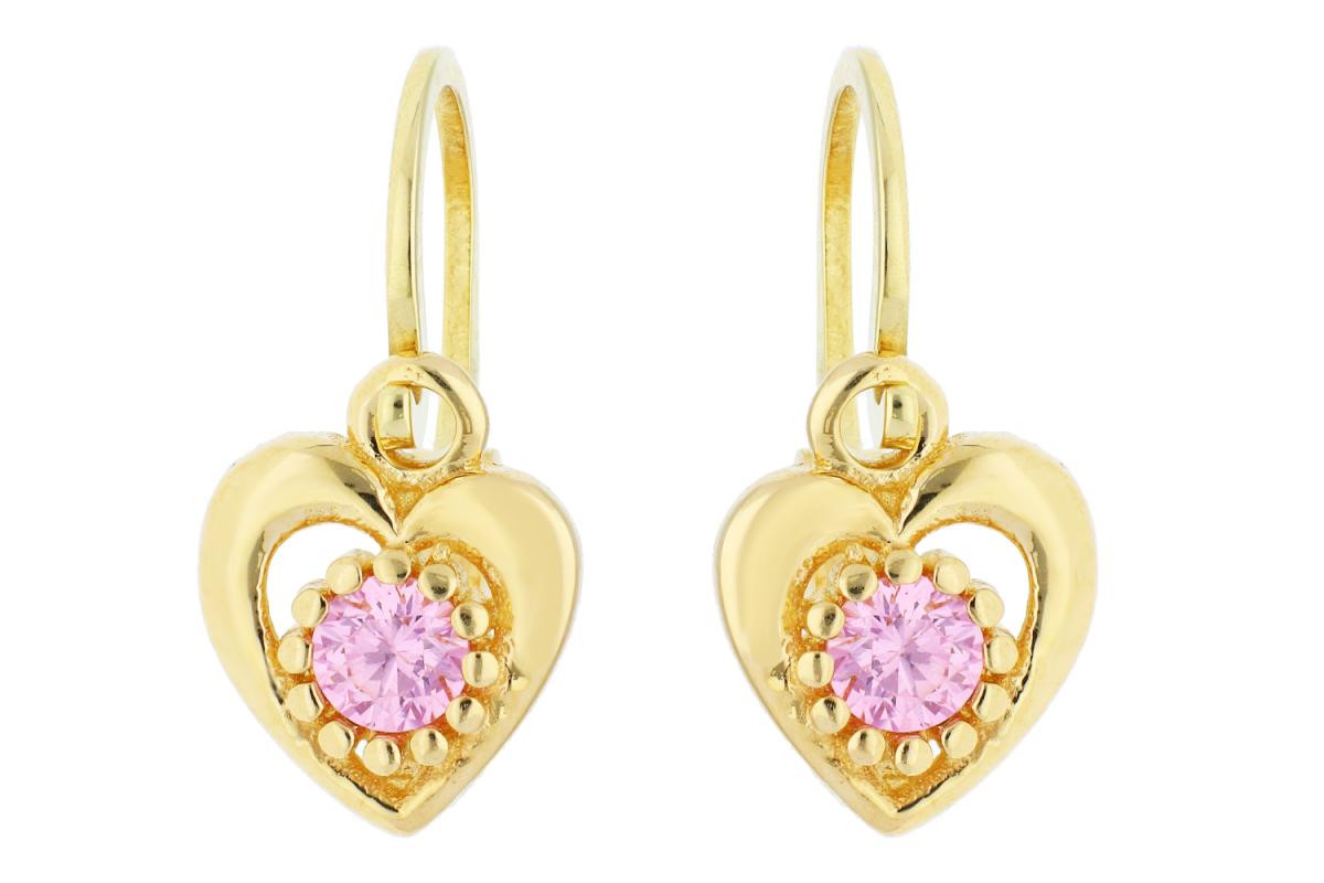 Cercei copii din aur 14K galben inimioara zirconia roz