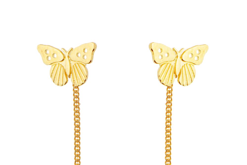Cercei cu lant aur 14 k model fluturas