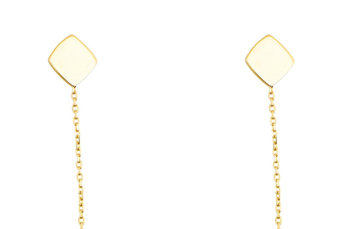 Bijuterii aur online - Cercei cu lant dama aur 14K galben placuta geometry