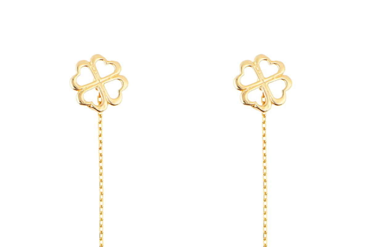 Bijuterii aur - Cercei cu lant dama aur 14K galben trifoi