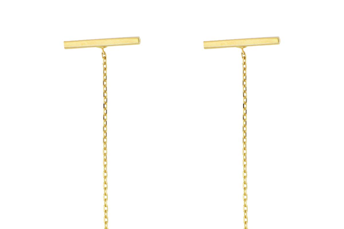 Cercei cu lant dama din aur 14K galben