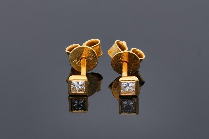 Cercei cu surub aur 14k cu diamante