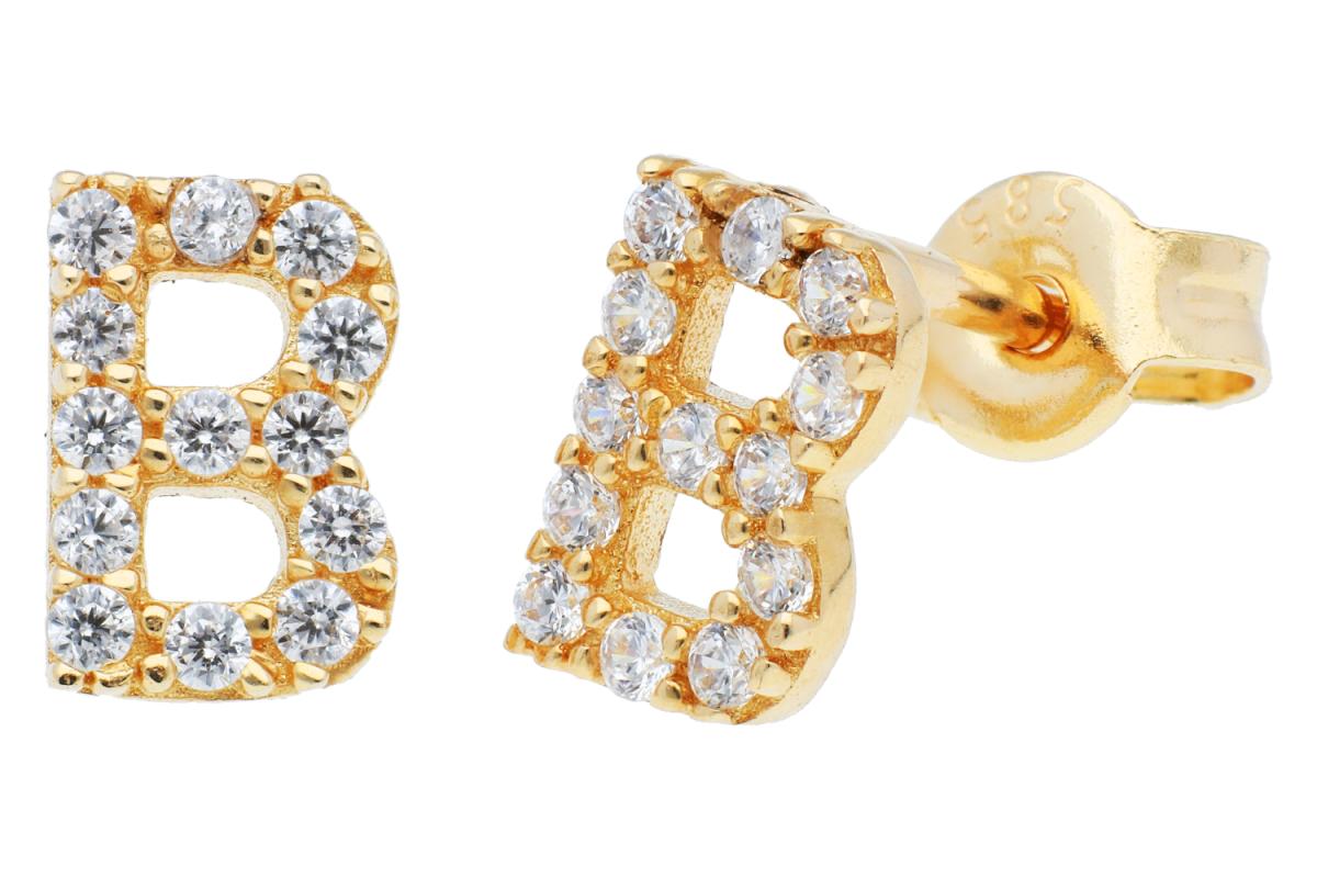 Cercei cu surub dama din aur 14K galben initiala B cu zirconii