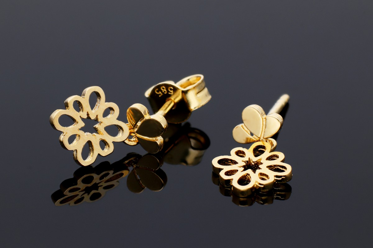 Bijuterii aur online - Cercei cu surub aur 14K galben