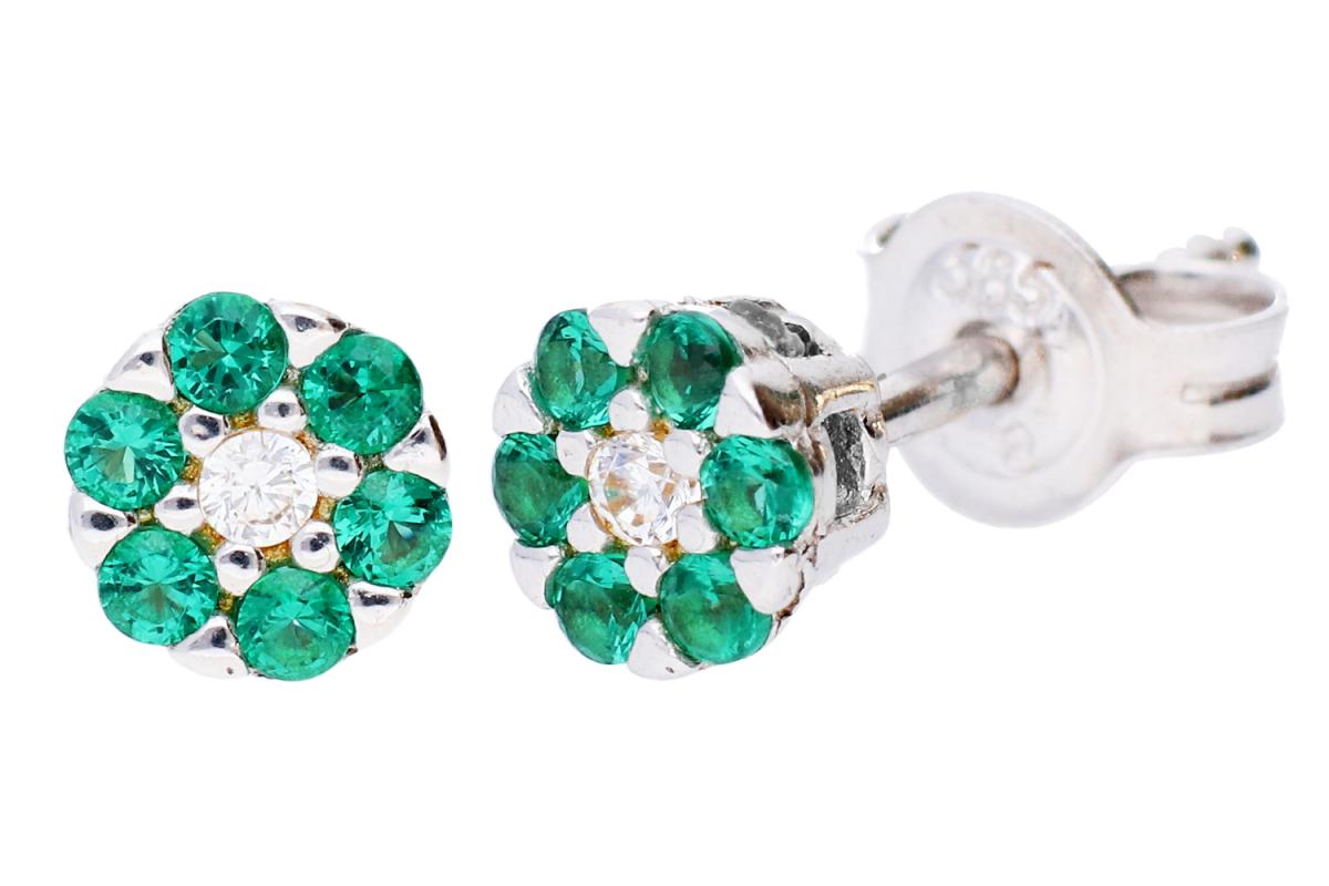 Cercei cu zirconii verzi bijuterii aur 14k