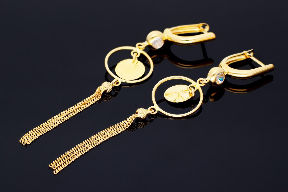 Cercei lungi dama din aur 14K galben geometric