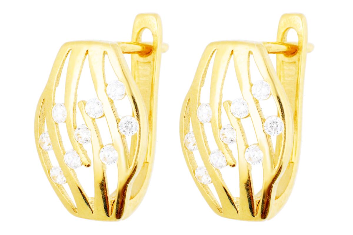 Bijuterii din aur - Cercei tortite dama aur 14K galben cu zirconii