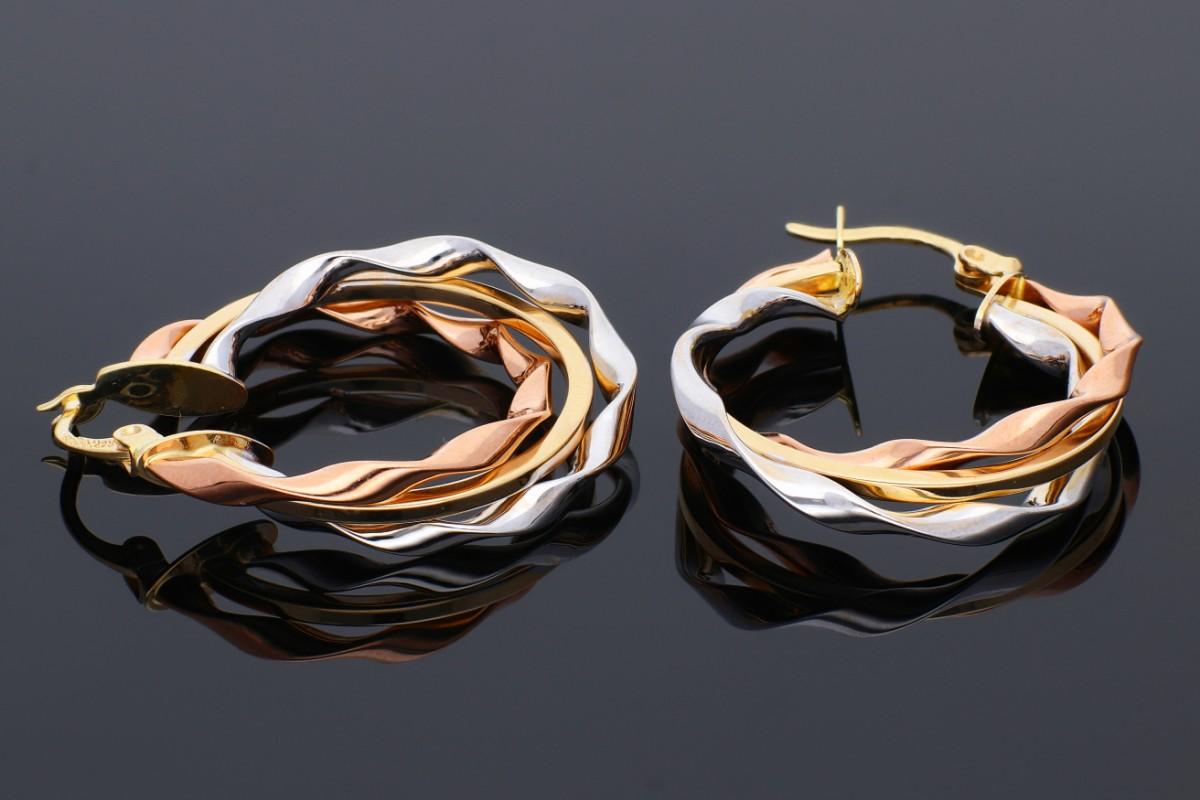 Cercei rotunzi din aur 14K galben, alb si roz