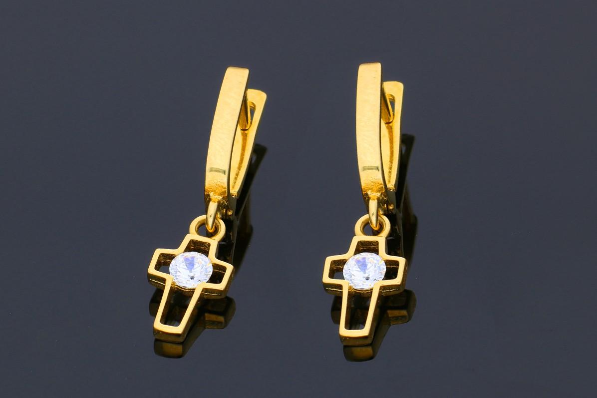 Cercei din aur 14K galben cruciulita