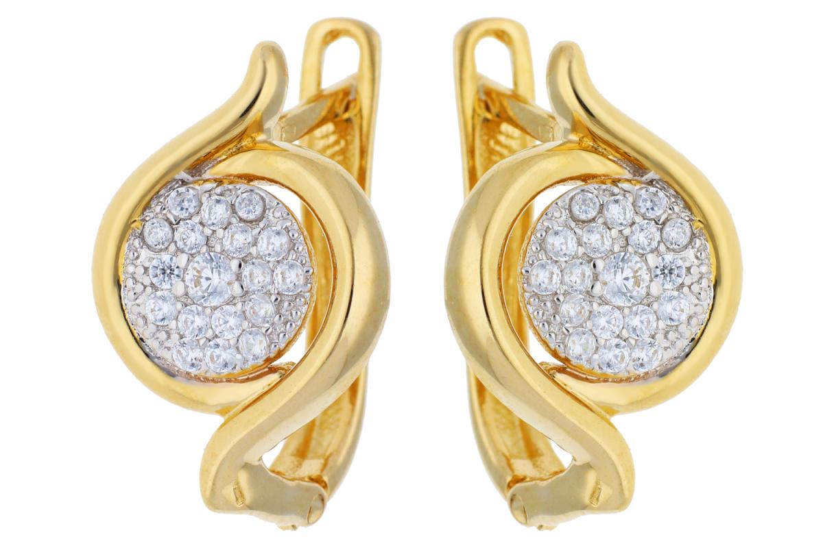 Cercei din aur 14K galben si alb bijuterii dama