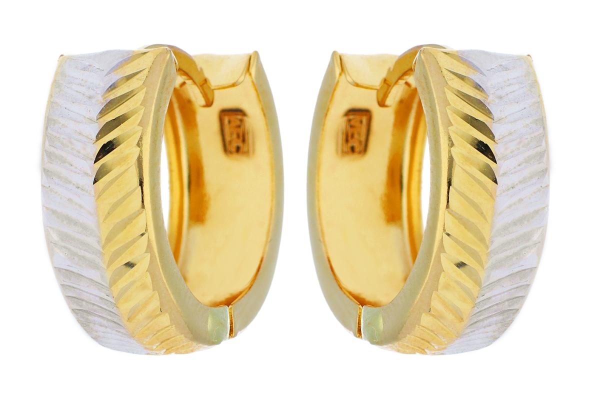 Cercei rotunzi din aur 14K galben si alb