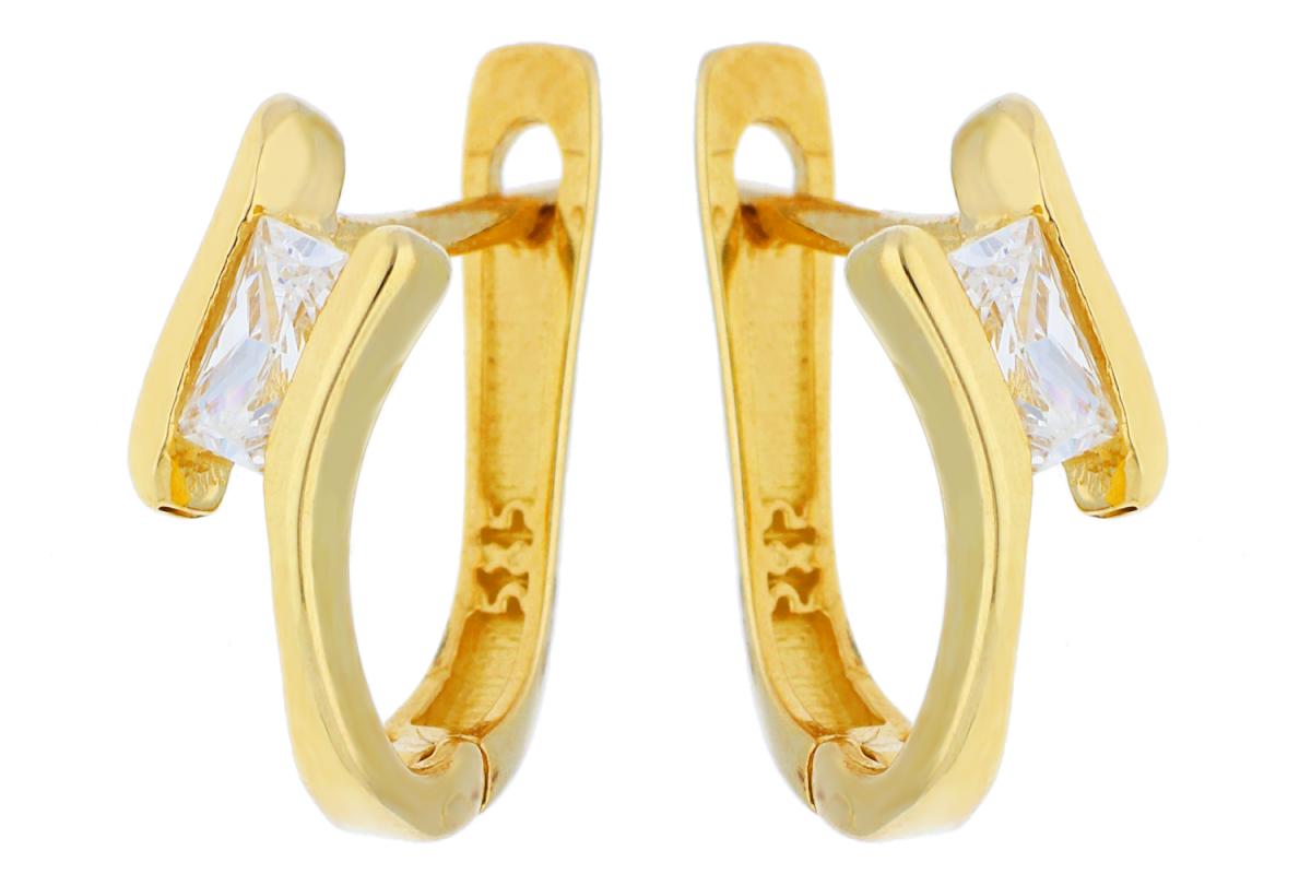 Cercei din aur 14K galben zirconia