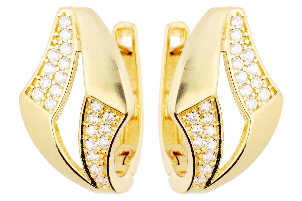 Bijuterii aur online - Cercei tortite din aur 14K galben cu zirconii
