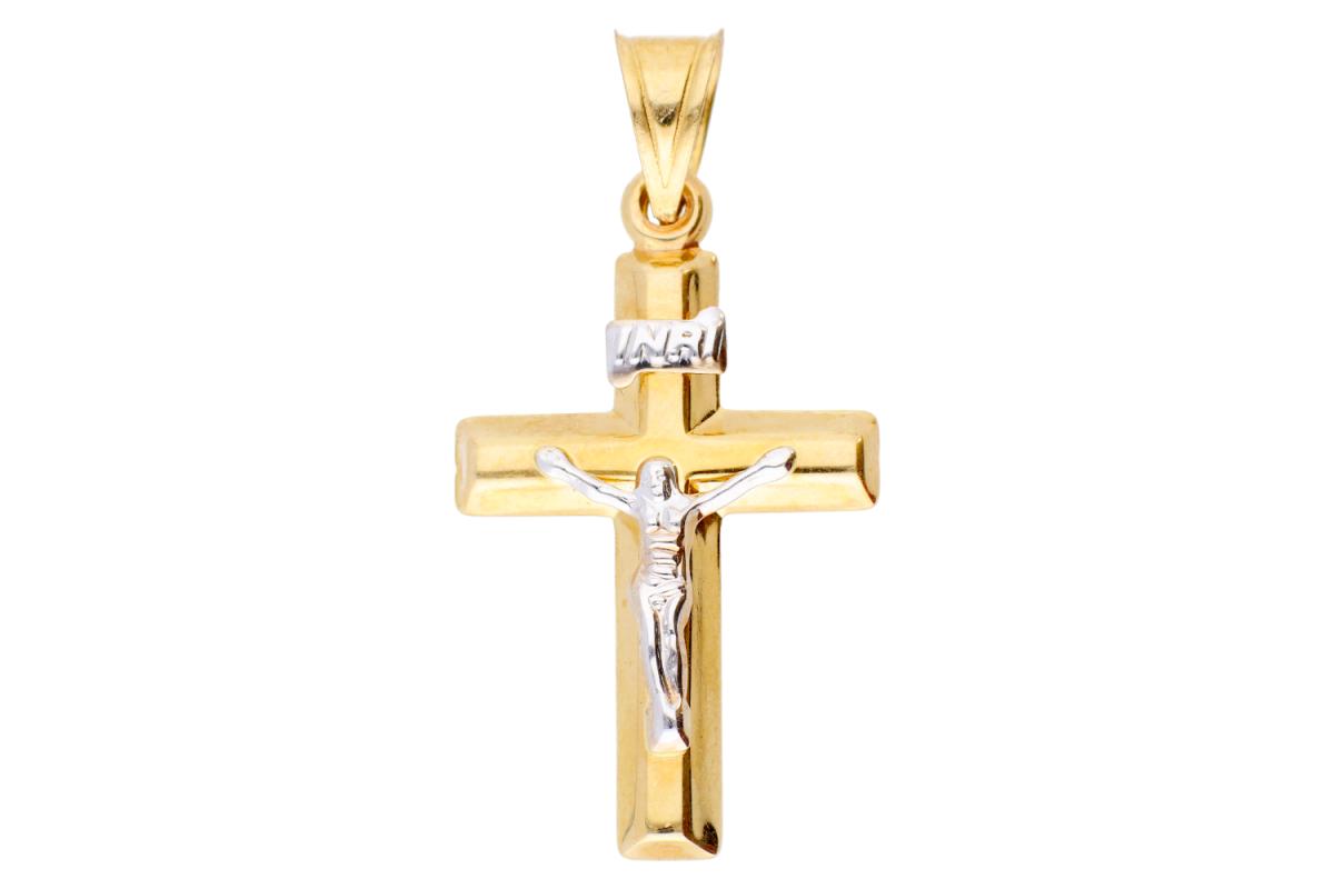 Cruciulita din aur 14K alb si galben Iisus