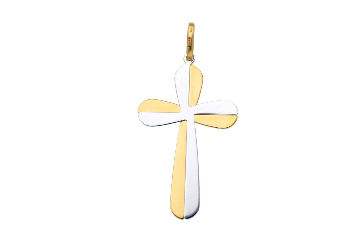Bijuterii aur online - Cruciulita aur 14K alb si galben