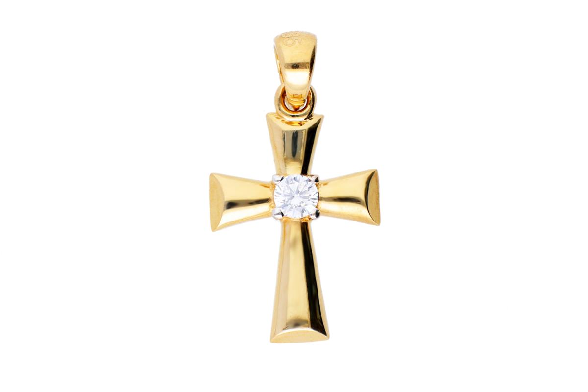 Bijuterii aur online - Cruciulita din aur 14K alb si galben zirconia