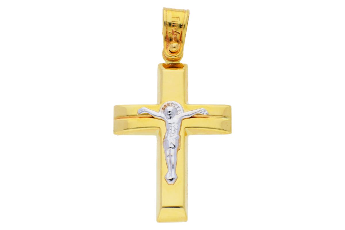 Cruciulita aur 14K galben si alb cu Iisus