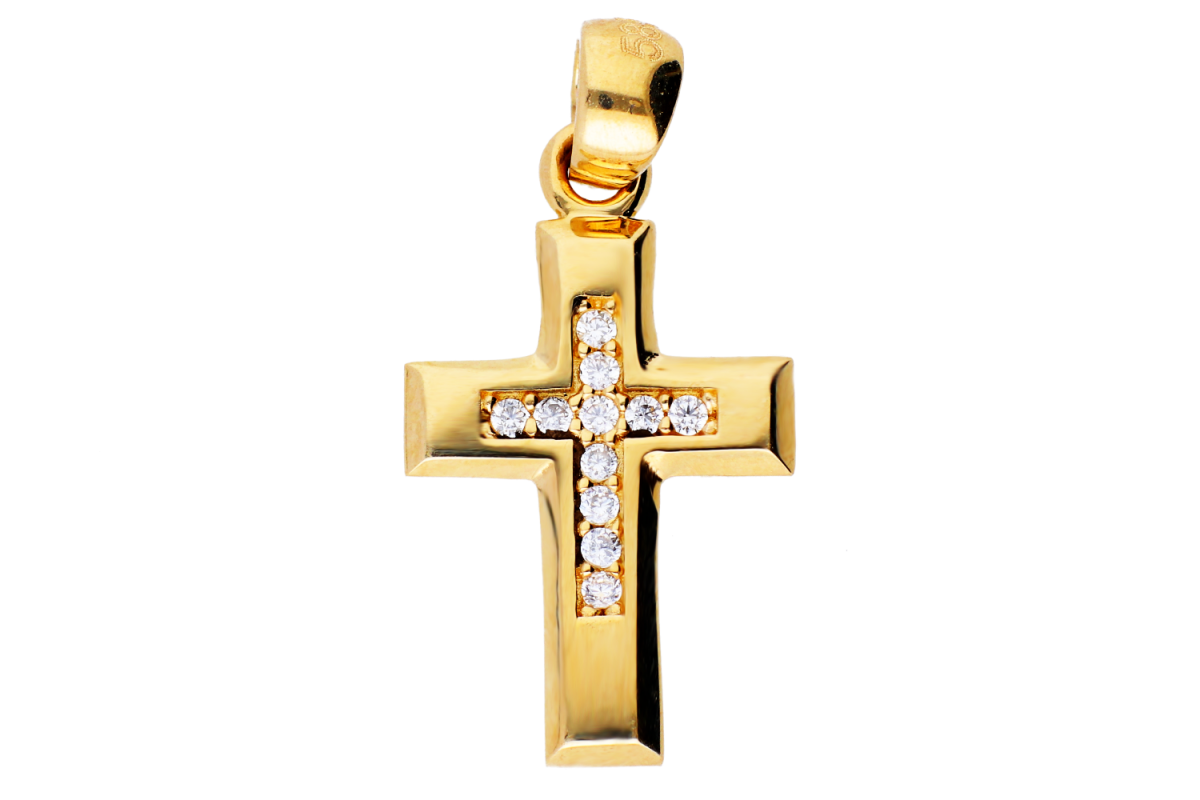 Cruciulita din aur 14K galben cristale zirconia