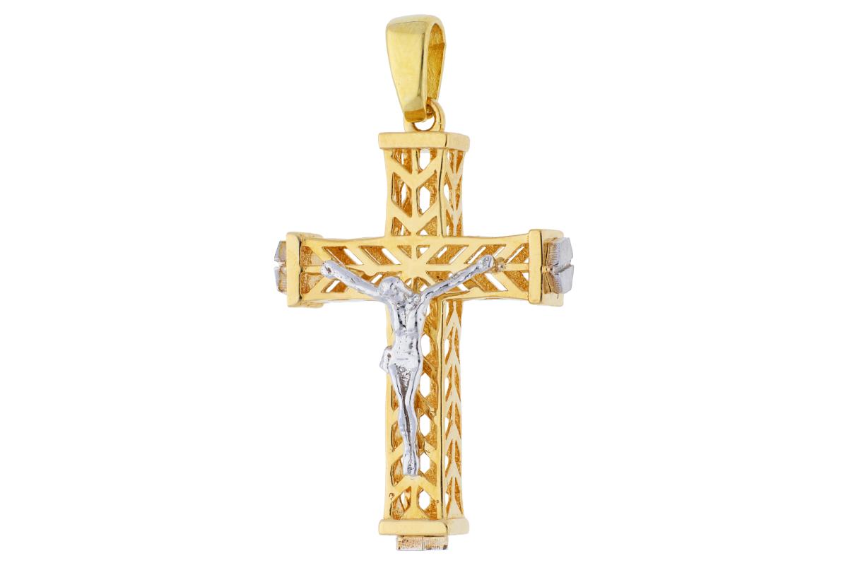 Cruciulita din aur 14K galben si alb Iisus