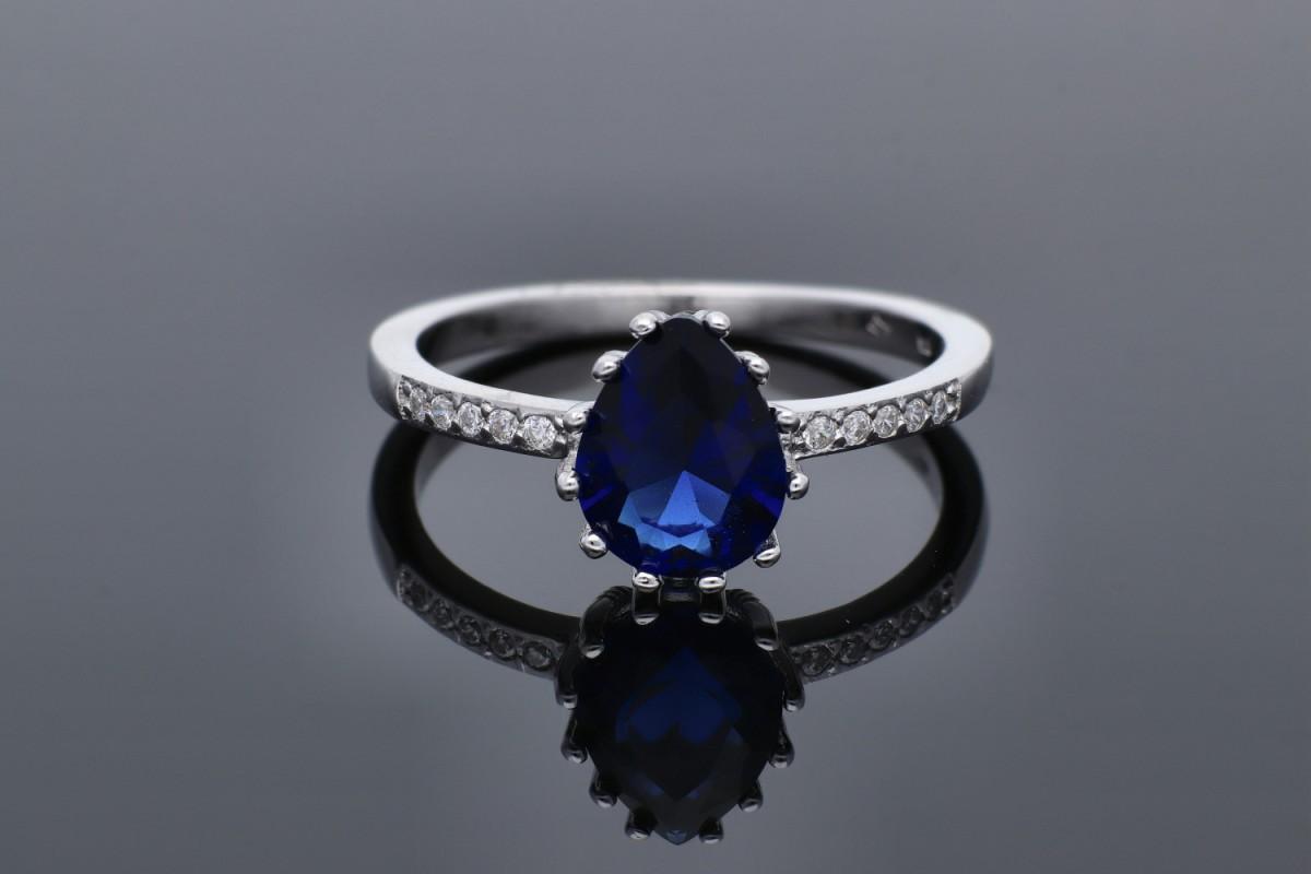 Inel argint 925 zirconia albastra