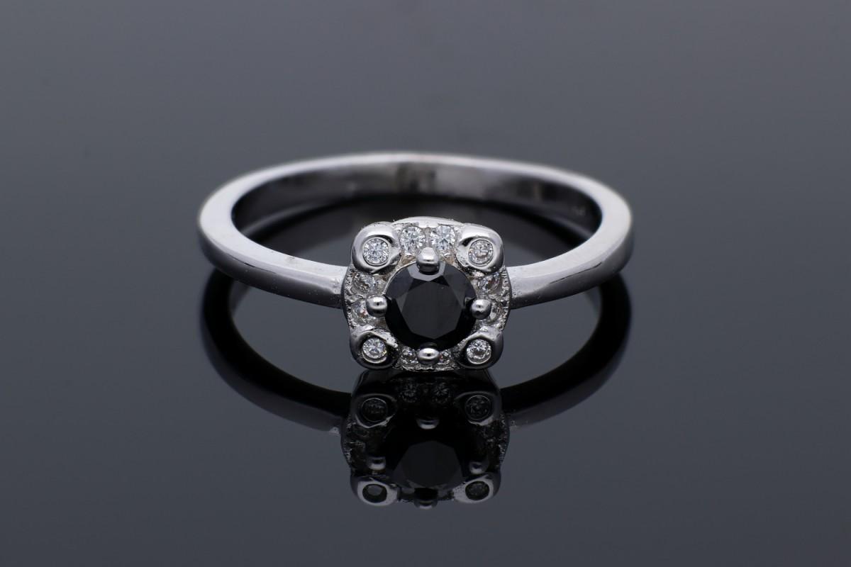 Inel argint 925 zirconia neagra