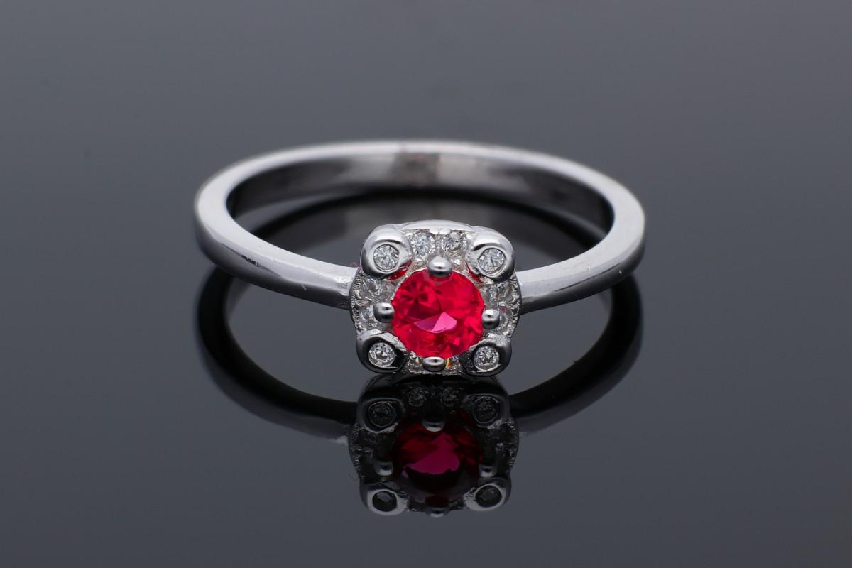 Inel argint 925 zirconia roz