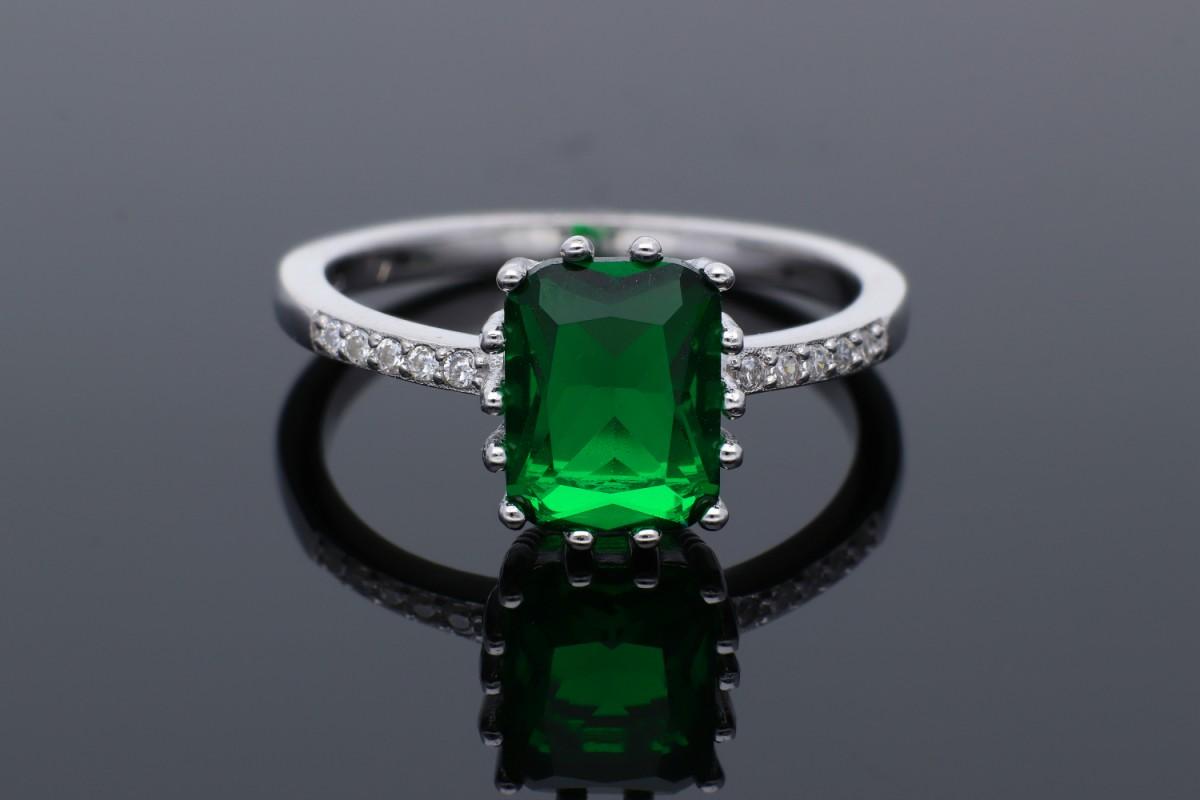 Inel argint 925 zirconia verde