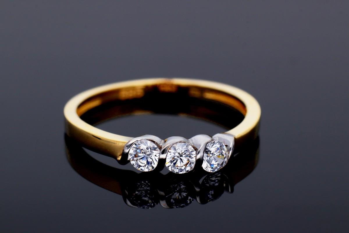 Bijuterii aur - Inel aur 14K alb si galben cristale zirconia