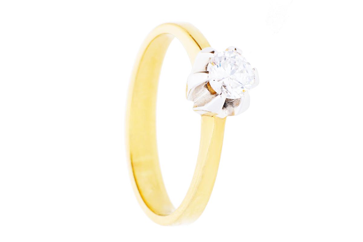 Inele de logodna din aur 14K alb si galben