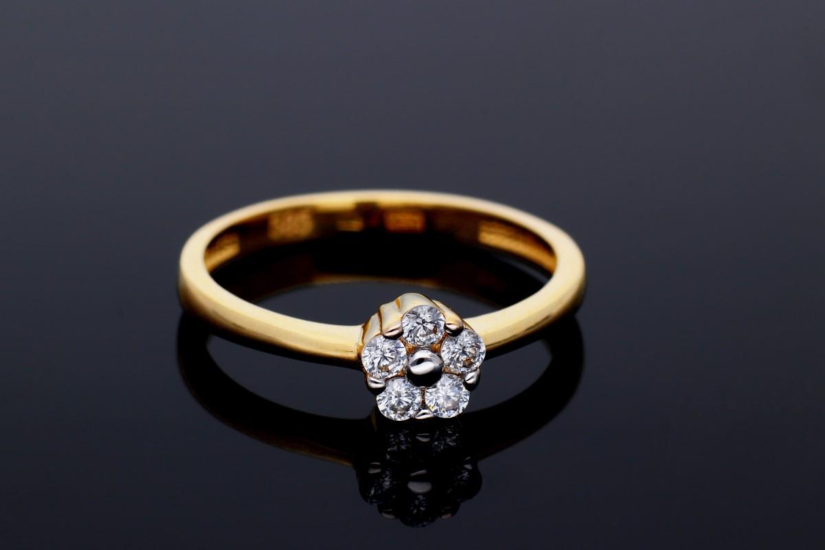 Bijuterii aur online - Inel din aur 14K alb si galben