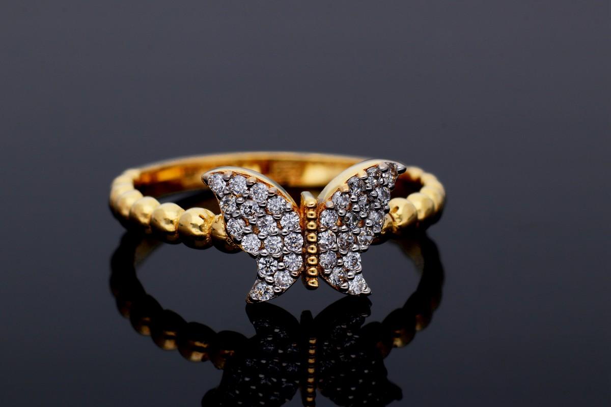 Inel din aur 14K alb si galben fluturas