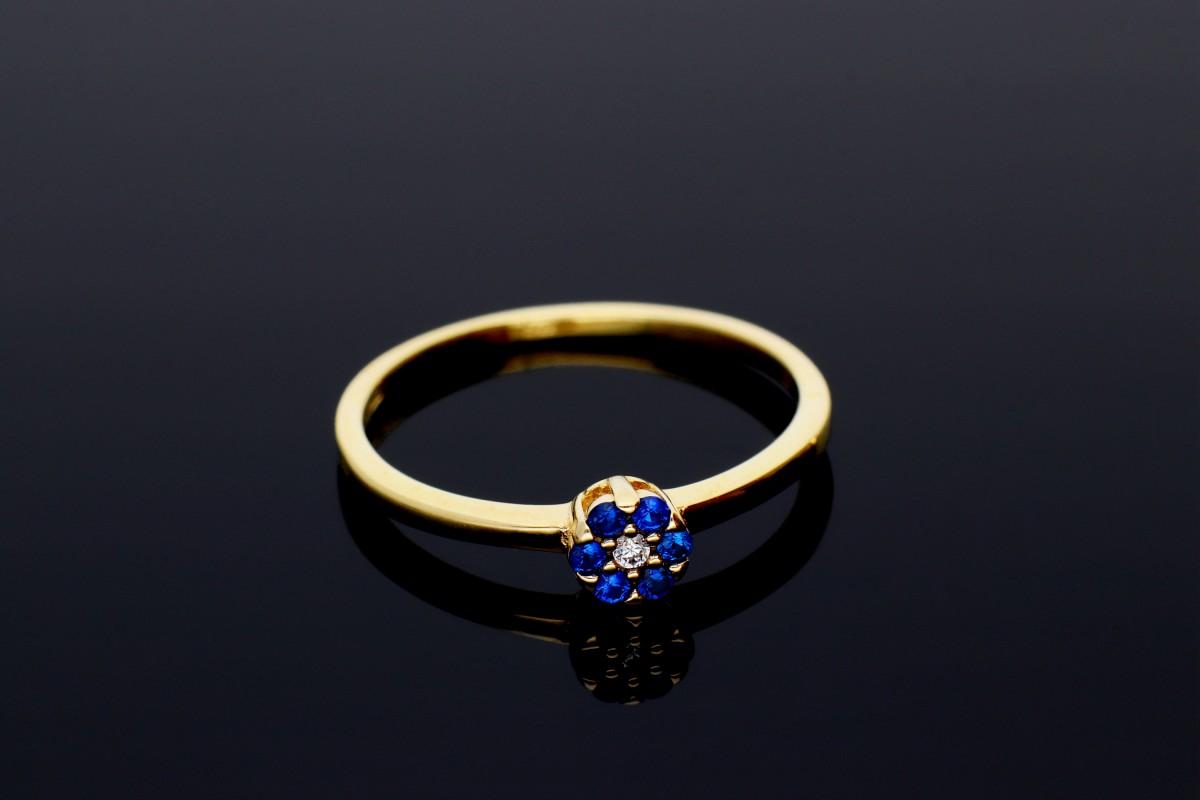 Inel din aur 14K galben cu zirconii albastre