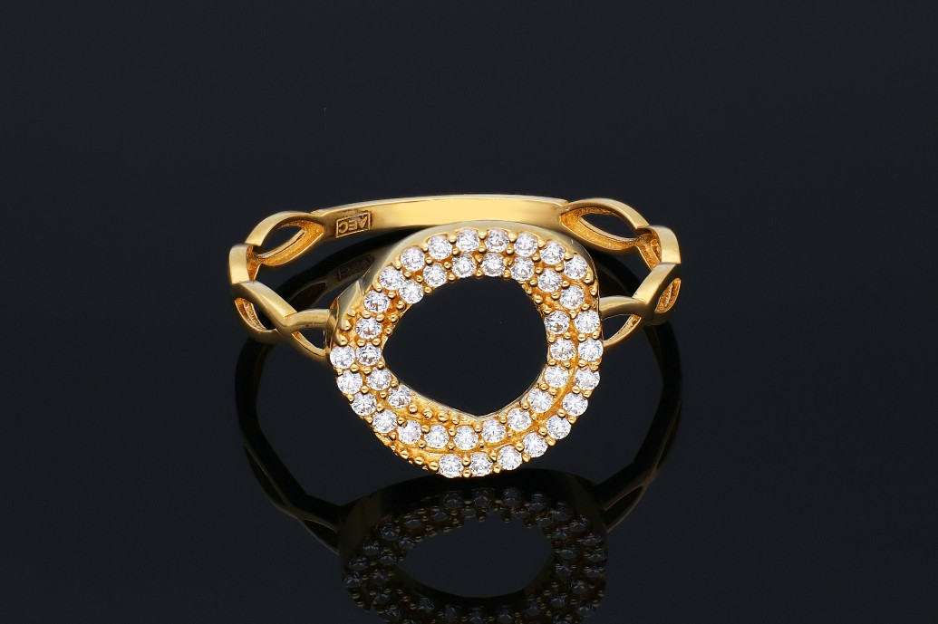 Inel aur 14K galben cerculet cu zirconii