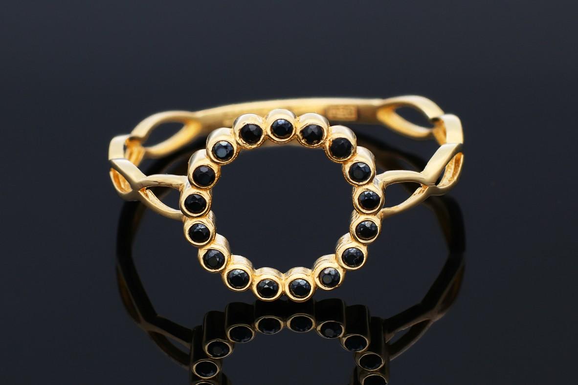 Inel aur 14K galben cu zirconii negre