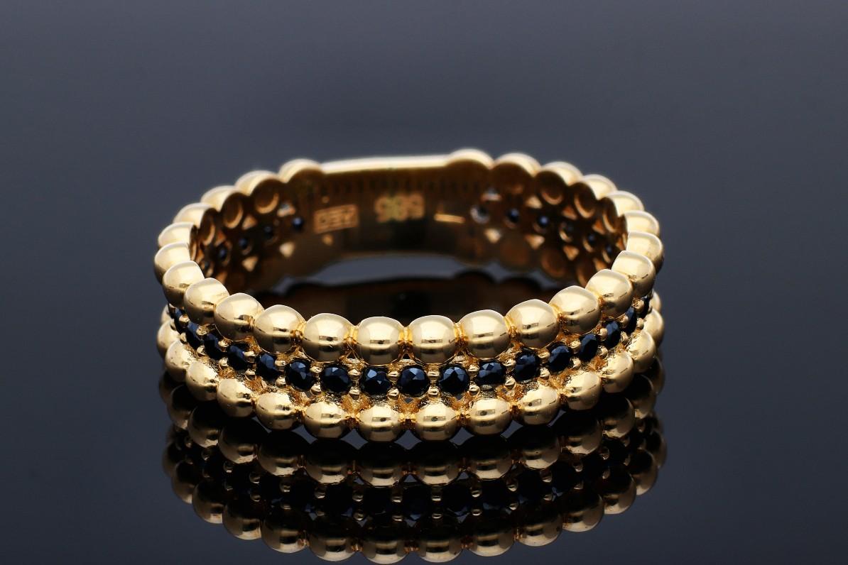 Inel aur 14K galben tip verigheta zirconii negre