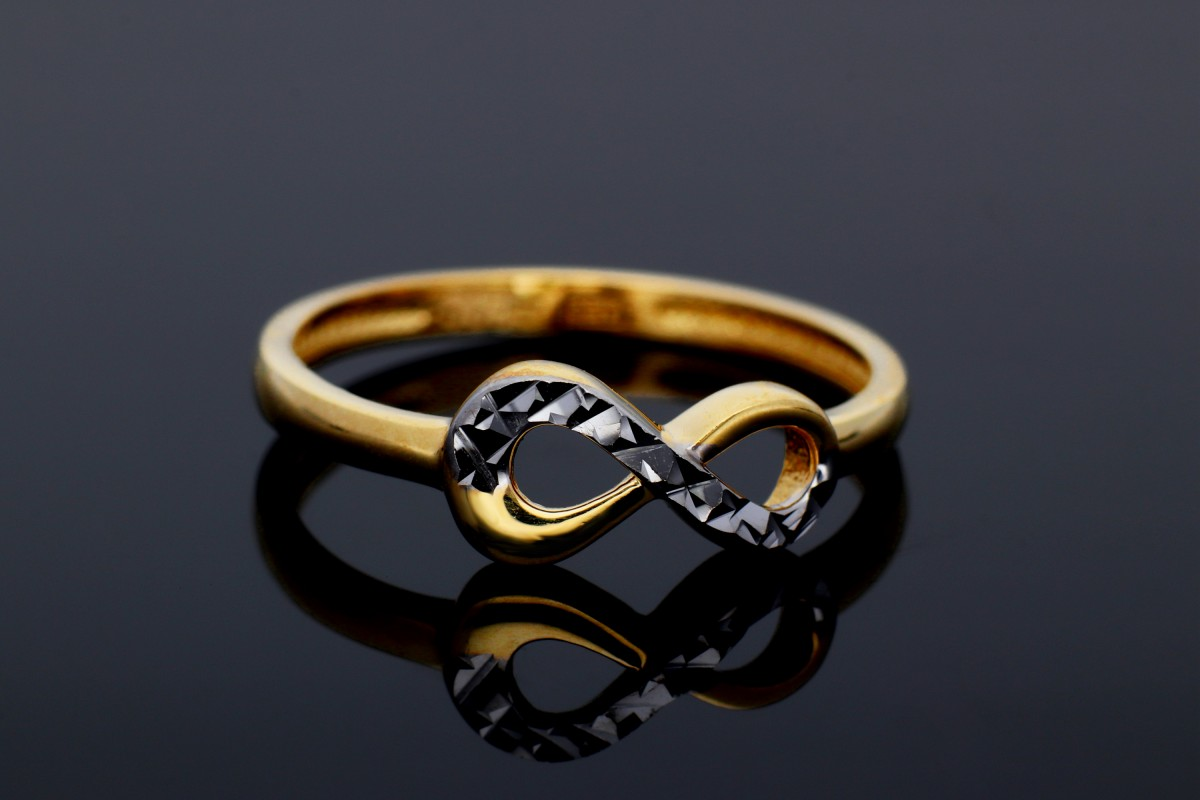 Bijuterii din aur - Inel aur 14K alb si galben infinity