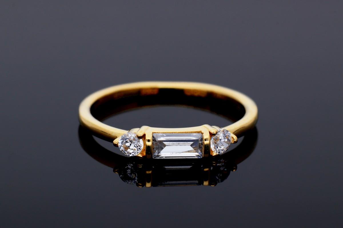 Inel dama din aur 14K galben minimalist cristale zirconia