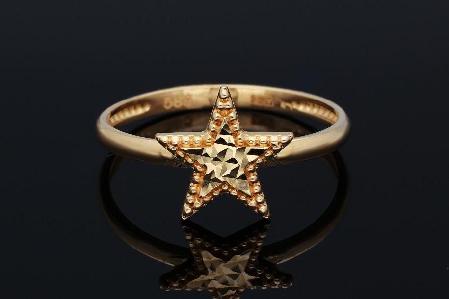 Bijuterii aur - Inel din aur 14K galben steluta fatetata